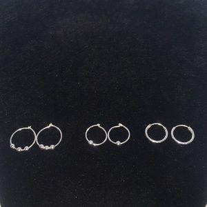 Jewelry - Sterling Silver Beaded Hoop Earrings Set of 3